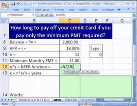 Formula For Credit Card Payoff Excel Finance Trick 11 How Pay Credit Card Balance