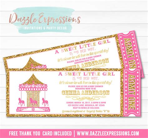 Ticket Baby Shower Invitations by Printable Pink And Gold Glitter Carousel Ticket Baby