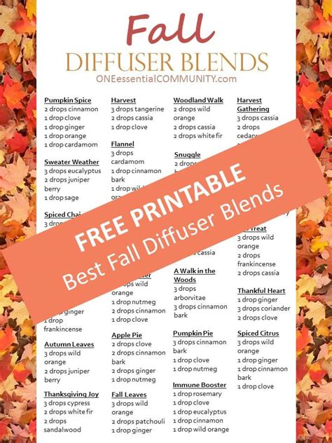 printable essential oil recipes 20 best fall diffuser blends free printable of diffuser