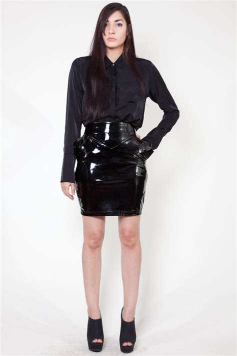 intrigue skirt black pvc mini pencil skirt geometric