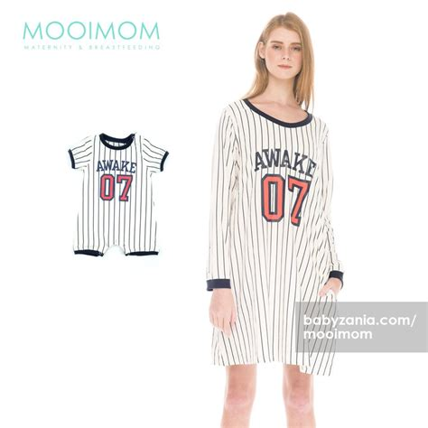 Baju Baseball White N jual murah mooimom baseball sleeves nursing dress