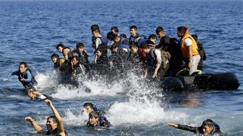 refugee boat video refugee boat sinks off greek island seven bodies