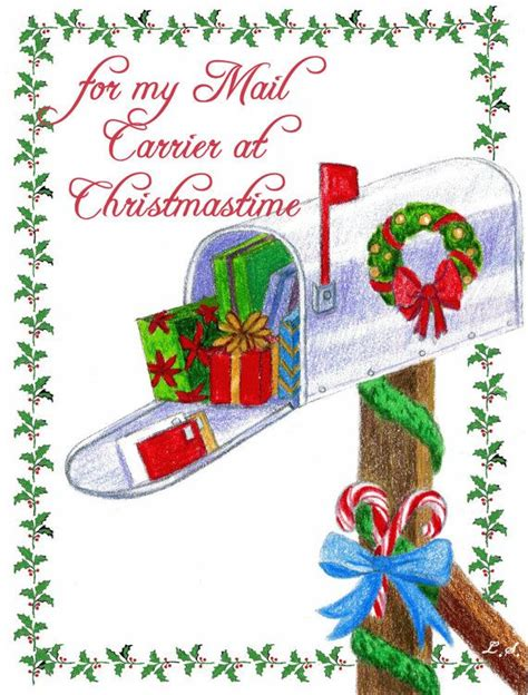 christmas card  mail carrier postman postmaster mailman mailwoman printable christmas cards