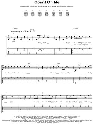 ukulele tutorial count on me bruno mars quot count on me quot guitar tab download print