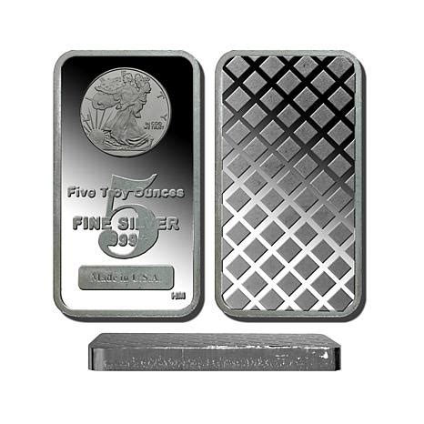 5 troy oz. 99.9% pure silver bar with walking liberty