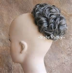 hair pieces for gray hair hairpiece extension gray mix short curly chignon hair