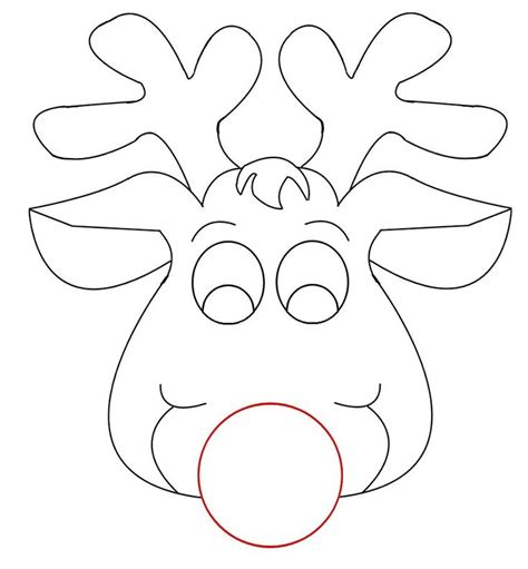 small printable reindeer rudolph reindeer face craft for coloring responses on