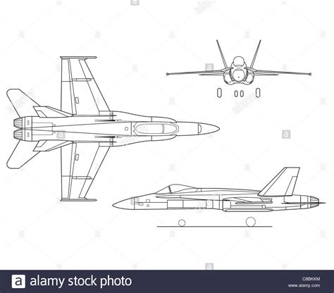 aeromodelli di carta volanti 3 view aircraft line drawing the f 18 hornet stock