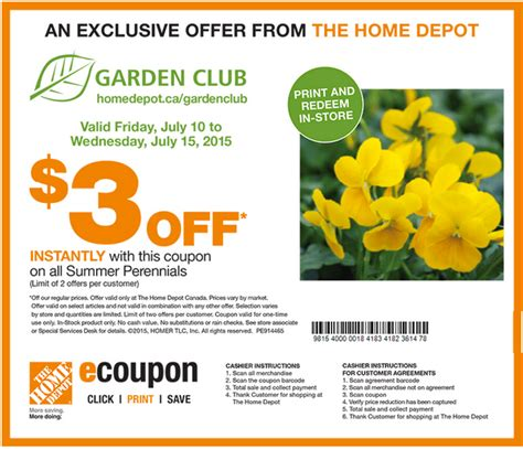 the home depot canada garden club coupons get 3 00