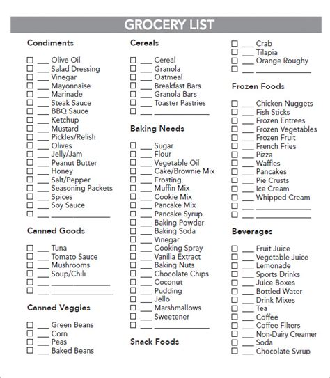 themes list pdf sle grocery list template 9 free documents in word
