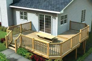 wrap around deck designs multi level deck w angle corners project plan 90041