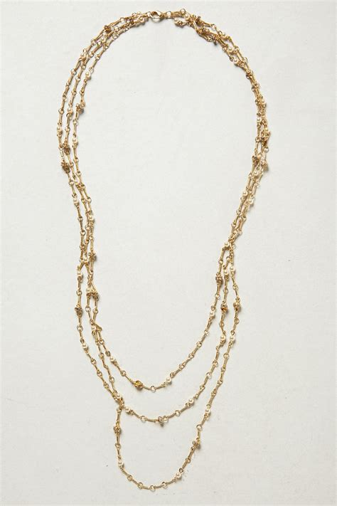 anthropologie layered cabochon necklace in white pearl