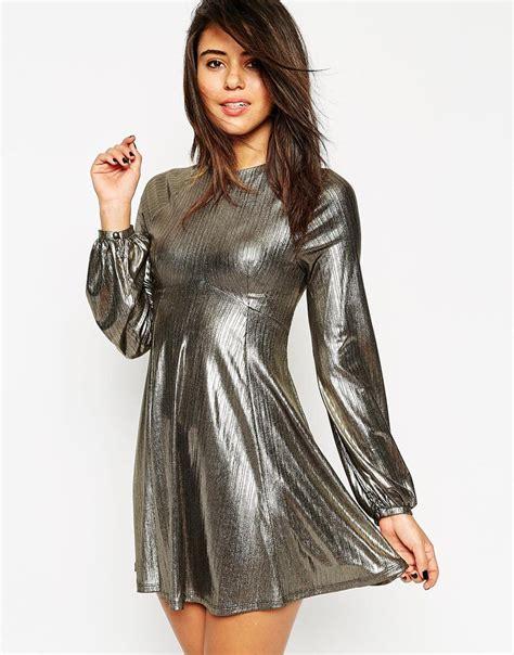 Metallic Dresses by Lyst Asos Dress In Metallic With Blouson Sleeve In Metallic