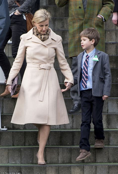 Beatrice Ii Eyelet Tie Shirt Navy of wessex and prince edward take their children out