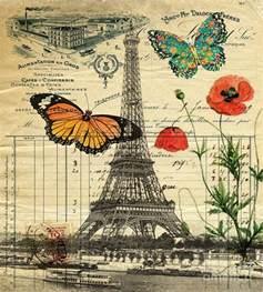 Vintage Floral Duvet Vintage Butterfly Poppy Flower Paris Eiffel Tower Art