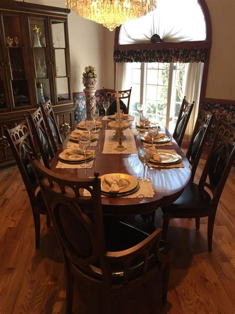 plunkett vintage antique solid wood dining room set table  chairs hutch ebay