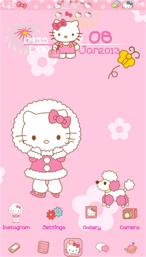 kitty themes for winter pretty droid themes hello kitty winter go launcher theme