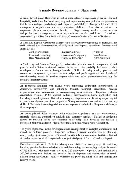Resume Summary For A Resume Summary Statement Exle Berathen