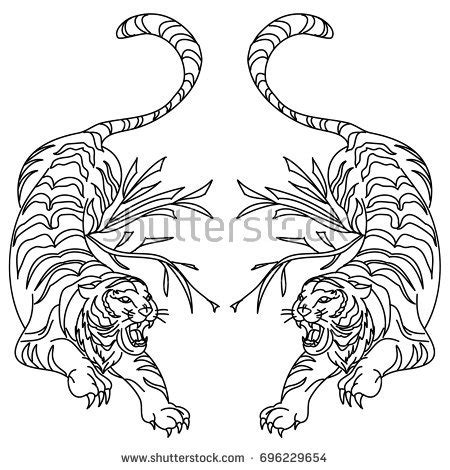 how to draw a doodle tiger outline doodle tiger vector on stock vector 696229654