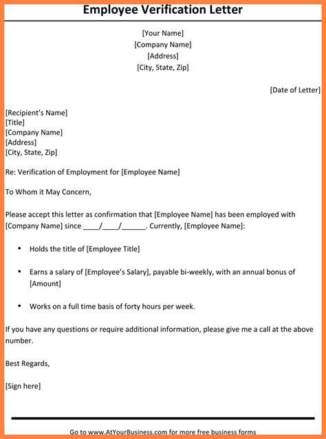 Employment Confirmation Letter Format Exle 7 employment verification letter with salary salary slip