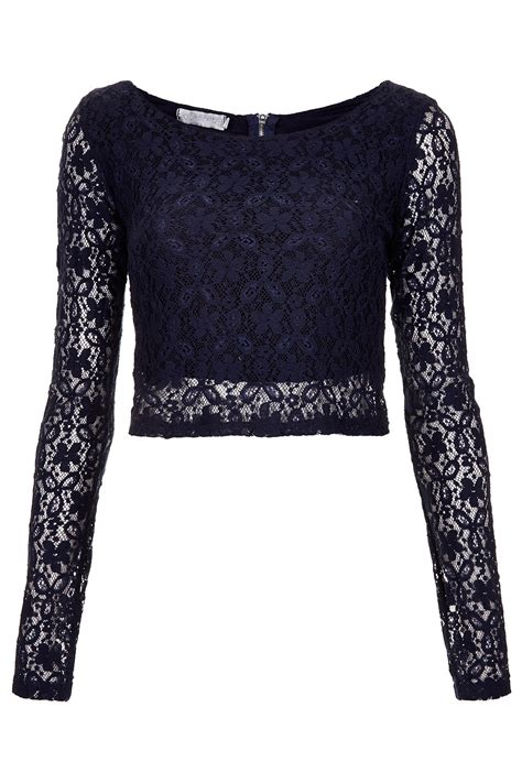 Blue Lace Top topshop lace crop top by in blue navy blue lyst