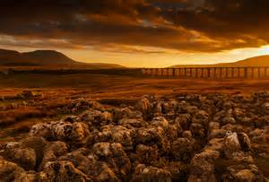Landscaping Lighting Ribblehead Viaduct And Ingleborough At Sunset Yorkshire D