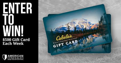 Cabela Gift Cards - win a 500 cabela s gift card american concealed