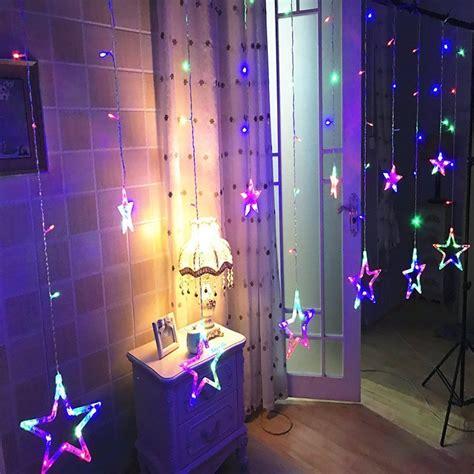 star shaped led lights string curtain window bedroom xmas fairy lamp home decor ebay