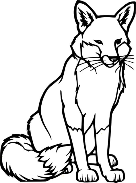 realistic fox coloring page fox outline clip art at clker com vector clip art online