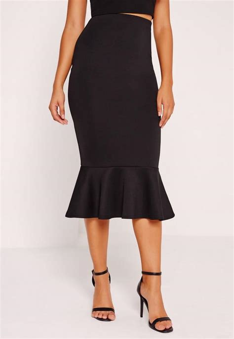 peplum hem scuba midi skirt black missguided