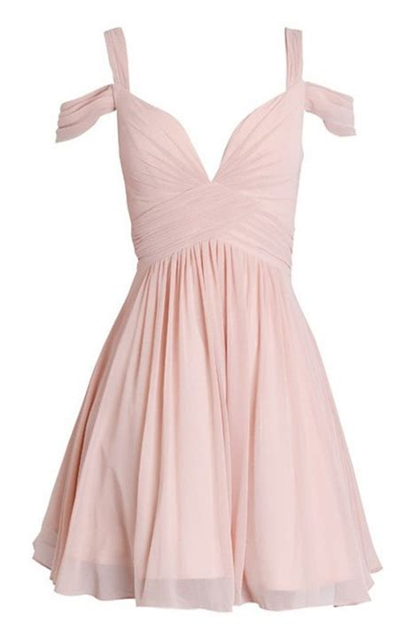 Cutie Dress a line straps cold shoulder pink chiffon homecoming