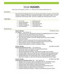 General Resume Sample Templates by General Manager Resume Sample My Perfect Resume
