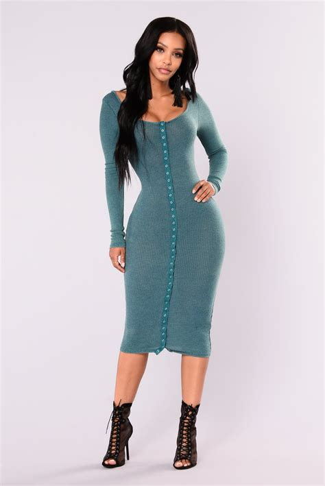 The Story The Dress by Snap Story Ribbed Dress Green