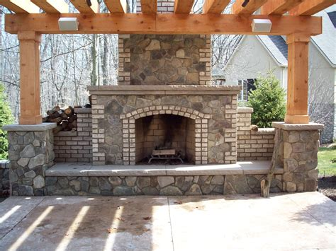 Masonry Outdoor Fireplace by Yoder Masonry Inc