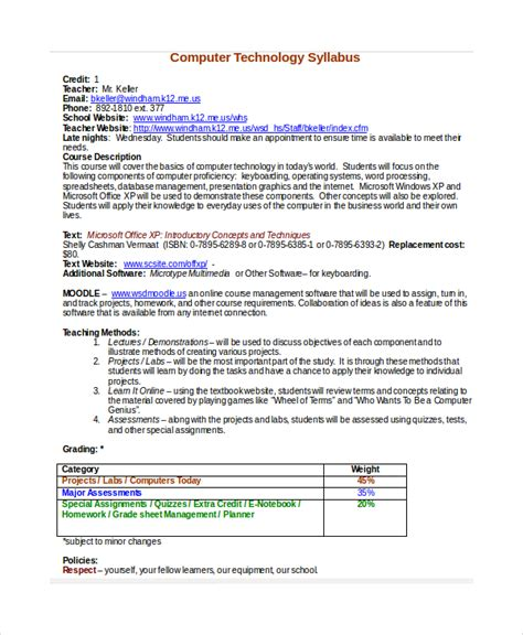 high school course syllabus template syllabus template