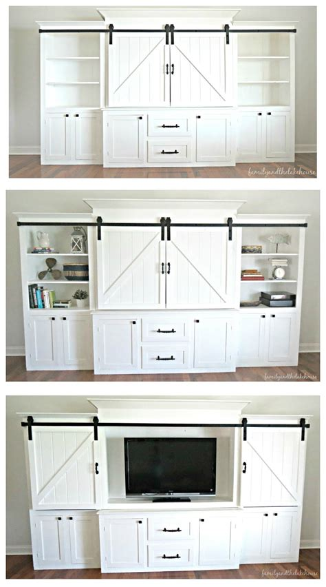 white barn door entertainment center family and the lake house home tour