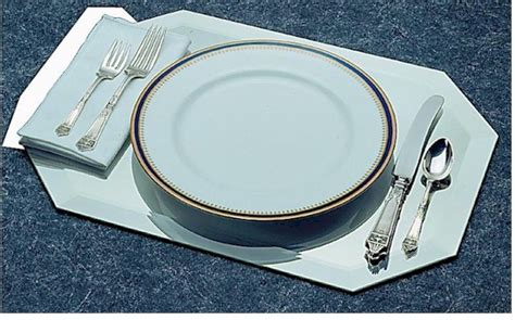 beveled mirror table runner mirror displays octagon elongated placemat beveled edge