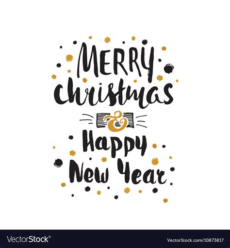 merry christmas happy  year card template vector image
