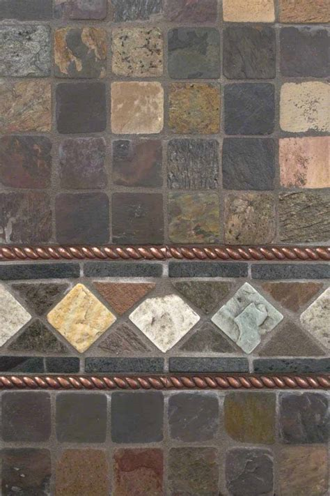 mixed slate and copper metal backsplash tile msi