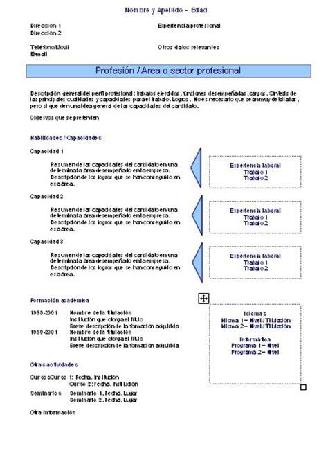 Plantilla Modelo Curriculum Funcional Plantillas Curriculums Vitae Funcionales Curriculums Vitae