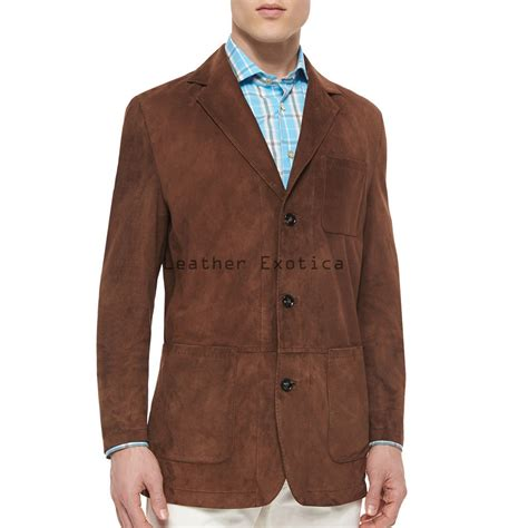 button men suede leather blazer leatherexotica