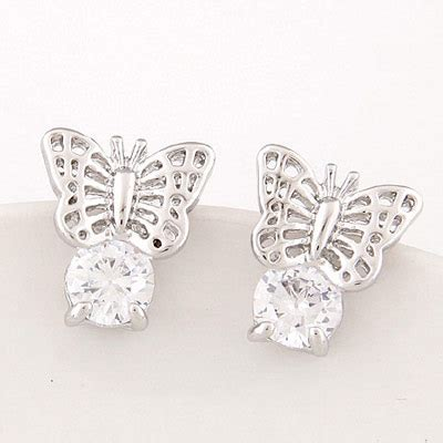 Anting Tusuk Butterfly Shape Decorated Hollow Out Design fashion silver color butterfly shape decorated hollow out design alloy stud earrings asujewelry