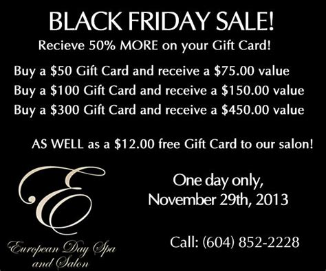 Black Friday Gift Card Specials - pin by spa ker on marketing massage and spa pinterest
