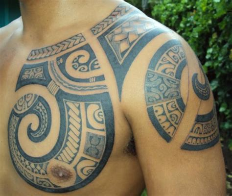 polynesian chest tattoo badass ink pinterest chest chest tattoo to shoulder of spirals fullfilled of