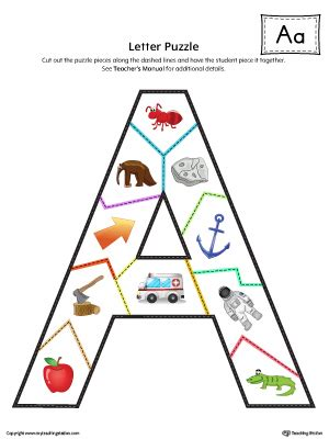 printable alphabet letter puzzles letter a do a dot worksheet in color myteachingstation com