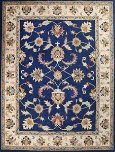 Handtufted oriental persian area rug pure wool bright blue carpet