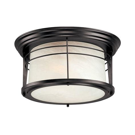 home depot outdoor flush mount lighting westinghouse senecaville 2 light weathered bronze outdoor