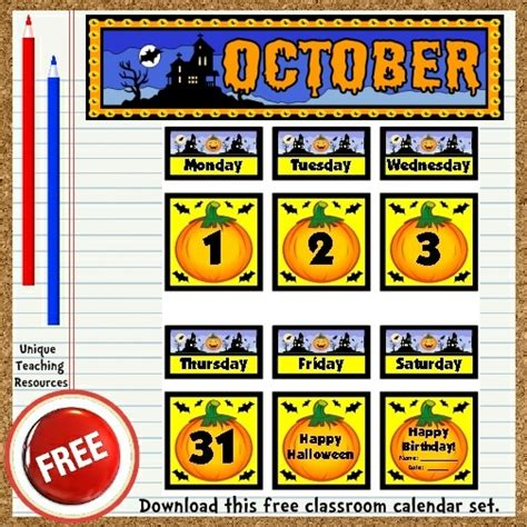 bulletin board calendar template free printable october classroom calendar for school teachers