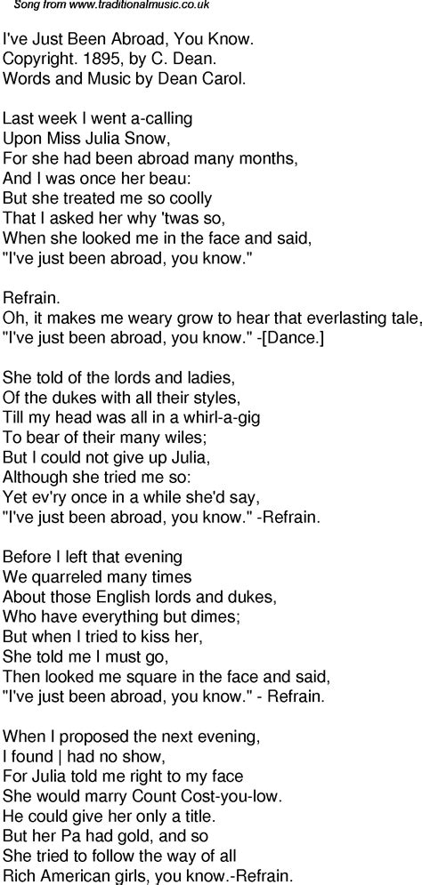 Old Time Song Lyrics for 52 I've Just Been Abroad You Know