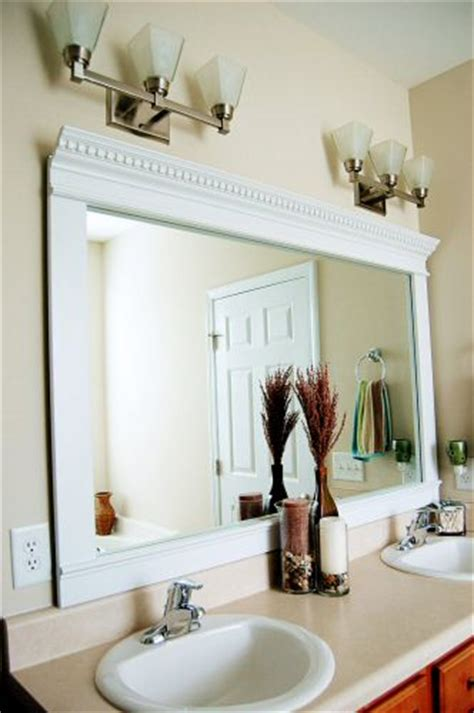 Frame Bathroom Mirror With Moulding How To Frame A Mirror For A Dramatic Upscale Look One Project Closer